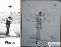 Custom Drawing-Couple kiss