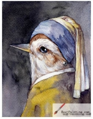 Watercolor painting-Original art poster-A bird in a hat