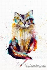 Watercolor painting-Original art poster-Standing cat