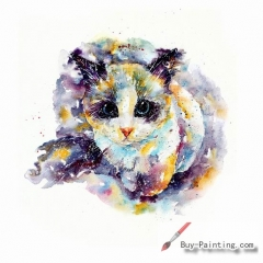 Watercolor painting-Original art poster-A careful cat