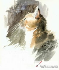 Watercolor painting-Original art poster-A cat with a long beard
