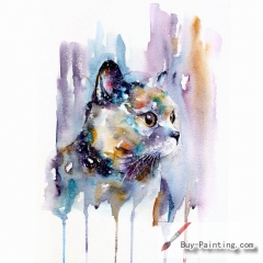 Watercolor painting-Original art poster-Big eyes cat
