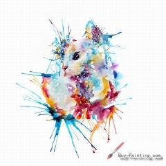 Watercolor painting-Original art poster-Impression of the cat