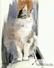 Watercolor painting-Original art poster-Cat on the window