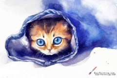Watercolor painting-Original art poster-Cat wrapped in blue cloth