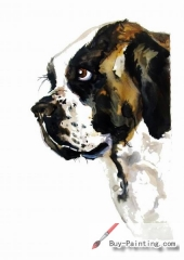 Watercolor painting-Original art poster-Portrait of dog
