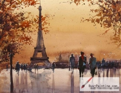 Watercolor painting-Original art poster-Eiffel Tower