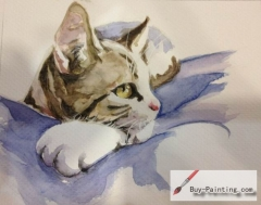 Watercolor painting-Original art poster-A leisurely cat