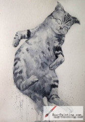 Watercolor painting-Original art poster-The cat sleeping