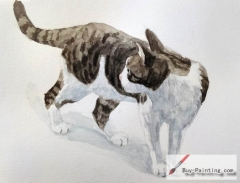 Watercolor painting-Original art poster-Looking at the rear of the cat