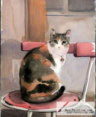 Watercolor painting-Original art poster-A cat sitting on a chair