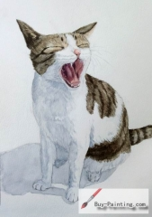 Watercolor painting-Original art poster-Yawning cat