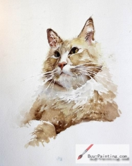 Watercolor painting-Original art poster-A cat in meditation