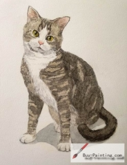 Watercolor painting-Original art poster-Yellow eyes cat