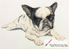 Watercolor painting-Original art poster-Dog with black ears