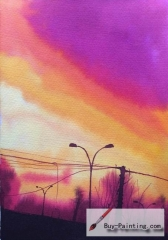 Watercolor painting-Purple sky