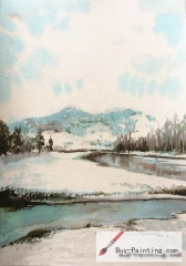 Watercolor painting-Winter Creek