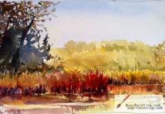 Watercolor painting-Rivers in autumn