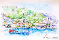Watercolor painting-Town