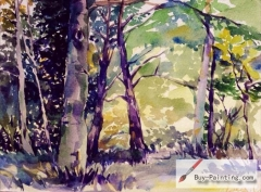 Watercolor painting-Summer woods