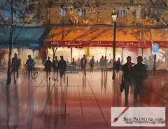 Watercolor painting-Night market