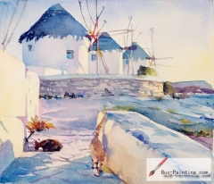 Watercolor painting-Windmill