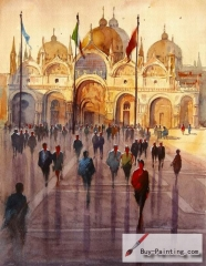 Watercolor painting-The people in front of the church