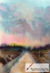 Watercolor painting-Road