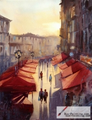 Watercolor painting-Street under the sunset
