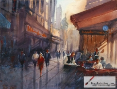 Watercolor painting-Cafe at night