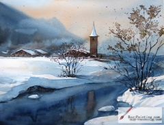 Watercolor painting-Original art poster-Winter