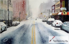 Watercolor painting-Snow on the streets