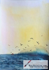 Watercolor painting-Seagull