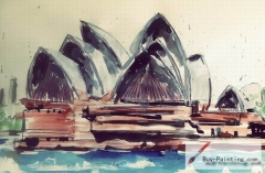 Watercolor painting-Sydney Opera House