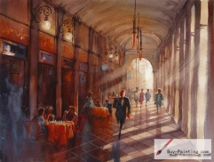 Watercolor painting-Restaurant