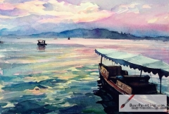 Watercolor painting-A boat in the river