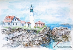 Watercolor painting-Lighthouse