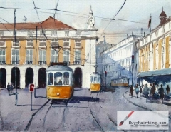 Watercolor painting-Tram