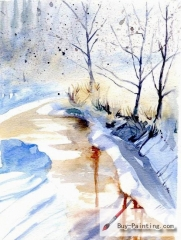 Watercolor painting-Path in winter