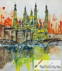 Watercolor painting-Castle and Bridge