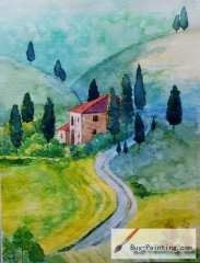 Watercolor painting-The mountain path