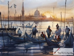 Watercolor painting-Fishing people