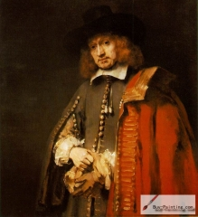 Portrait of the later mayor Jan Six, a wealthy friend of Rembrandt, 1654