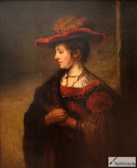 Saskia in red hat, 1635