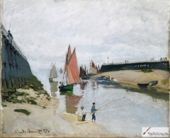 Le port de Trouville (Breakwater at Trouville, Low Tide), 1870,