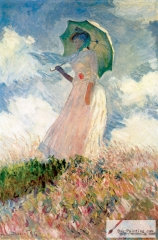 Study of a Figure Outdoors: Woman with a Parasol, facing left, 1886.