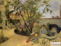 Garden in Vaugirard (Painter's Family in the Garden in Rue Carcel), 1881,