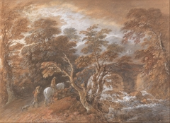 Hilly Landscape with Figures Approaching a Bridge (c. 1763), watercolour
