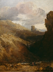 A study in oil of Dolbadarn Castle in Wales, 1799-1800