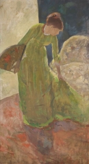 Mary Cassatt, Woman Standing Holding a Fan, 1878–79